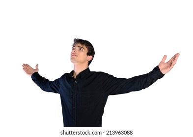 young man in casual clothes on white background