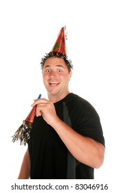 a young man celebrates a birthday, anniversary , holiday or any party at all. shot with a Fisheye lens for a fun distorted view. isolated on white with room for your text