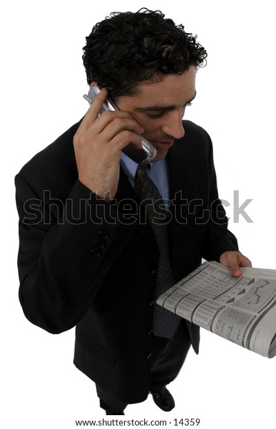 young man with cell phone and newspaper