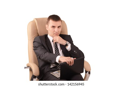 A young man in the chair, busines