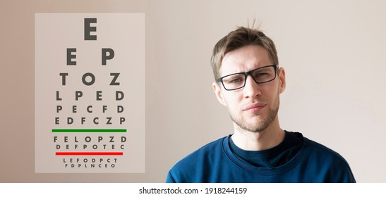 young man check the eyesight vision, examine the health with test letters chart