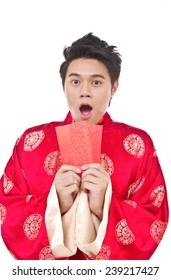 Young man in Chinese new year. In Chinese, a red packet is a monetary gift
