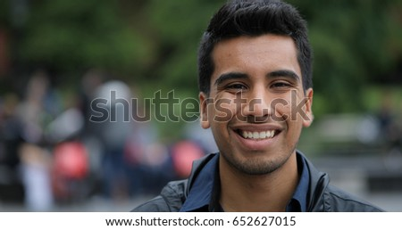 Young man in city face portrait