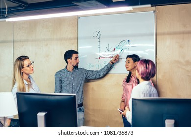 Young man coach pointing on flip chart with diagram explaining studying materiel in stylish classroom.Group of successful students discussing graphic drawn on board teamworking during lesson