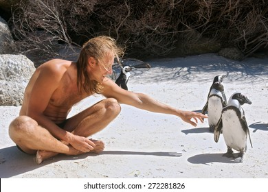 Young man communicates with penguins. Shot in the Boulders Beach Nature Reserve, near Cape Town, Western Cape, South Africa.