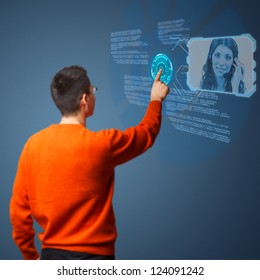 Young man connecting call center agent on digital interface