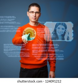 Young man connecting helpline on digital interface