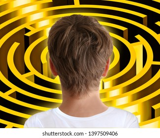 A young man considers the puzzle of the golden maze 3D illustration