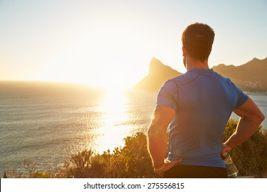 Young man contemplating after jogging