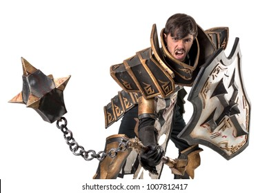 Young man cosplaying with fantasy knight costume