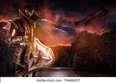 Young man cosplaying with fantasy knight costume over a fantasy landscape