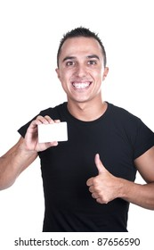 young man with a credit card and finger raised