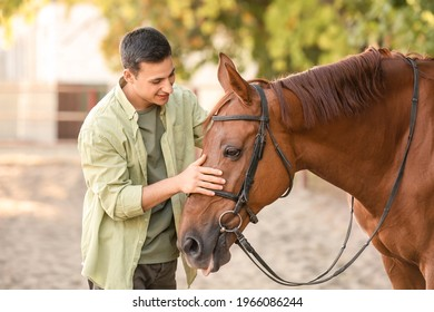 Young man with cute horse outdoors