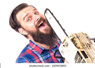 Young man cutting his beard with chainsaw isolated on white