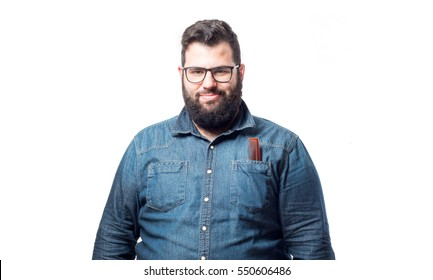 Young man with denim shirt and glasses and combs in his pocket isolated on white background