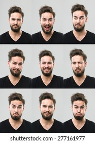 young man with different facial expressions. digital composite image