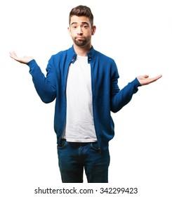 young man doing a balance gesture