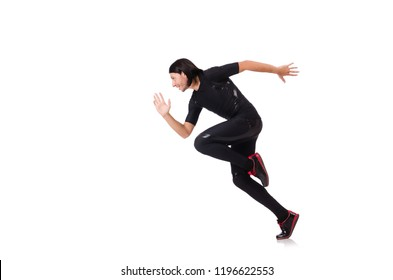 Young man doing exercises isolated on white
