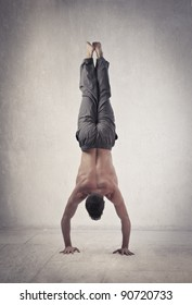 Young man doing a handstand