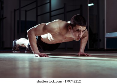 Young Man Doing Pushups