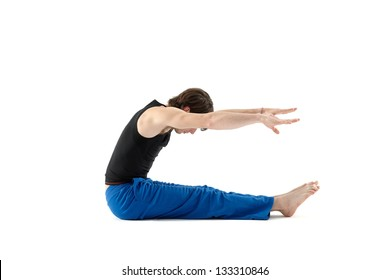 Young man doing stretching exercises