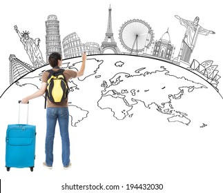 young man  drawing global map and famous landmark