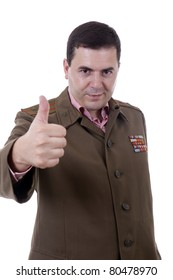 young man dressed as russian military showing victory sign