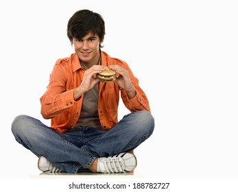 Young man eating.