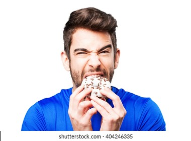 young man eating a donut