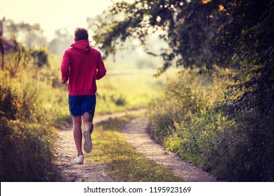 young man enjoying in a healthy lifestyle while jogging along a country road, exercise and fitness concept