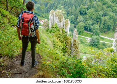 Young man enjoying the view of The White Hand rock (Skala Biala Reka) - famous rock formation in Ojcowski National Park, Poland - Shutterstock ID 1881988033
