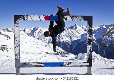 Young man enjoying winter sport