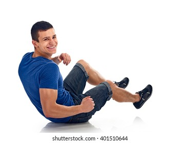 young man exercise bench working abdominal