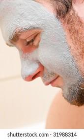 young man with facial mask