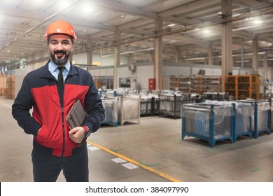 Young man in factory.