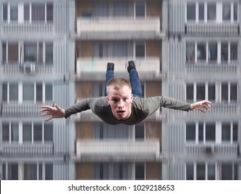 A young man falls from a high house. Suicide