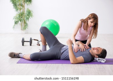 Young man feeling bad during training in first aid concept