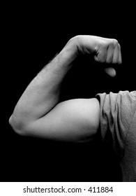 Young Man Flexing Bicep - black and white, isolated