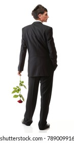 Young man flower - red rose isolated white background