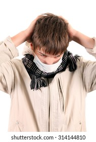 Young Man in Flu Mask Isolated on the White Background