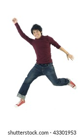 Young man flying in the air.