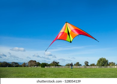 A young man flying a kite with blue sky