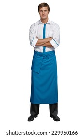 Young man in the form of a waiter or chef, white shirt