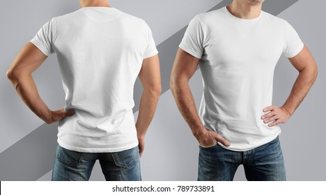 Young man, front view and back, in a white cotton T-shirt on a gray background. Mockup  for the design of clothes.