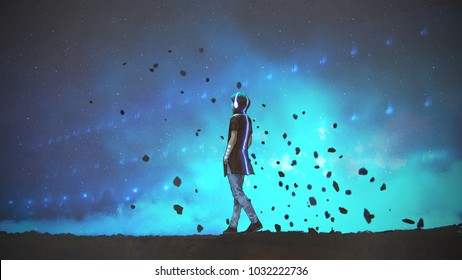 young man in futuristic clothing walking on blue background, digital art style, illustration painting
