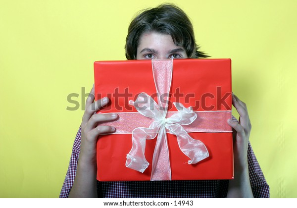 young man with gift