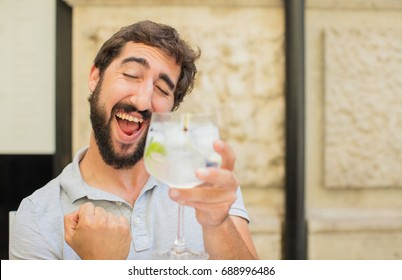 young man with gintonic
