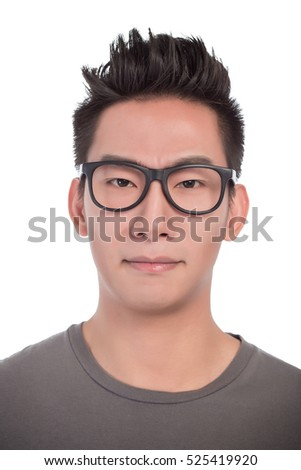 53a410b525e6 Young man with glasses smiling isolated on white background nice photo