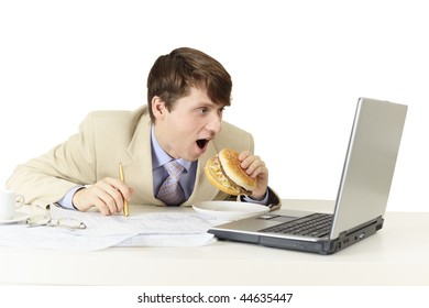 The young man is going to eat a sandwich isolated on white