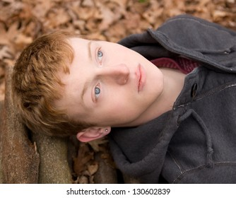 Young Man With Gorgeous Blue Eyes Outside